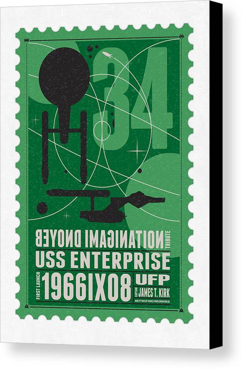 Enterprise Canvas Print featuring the digital art Starschips 34-poststamp - Uss Enterprise by Chungkong Art
