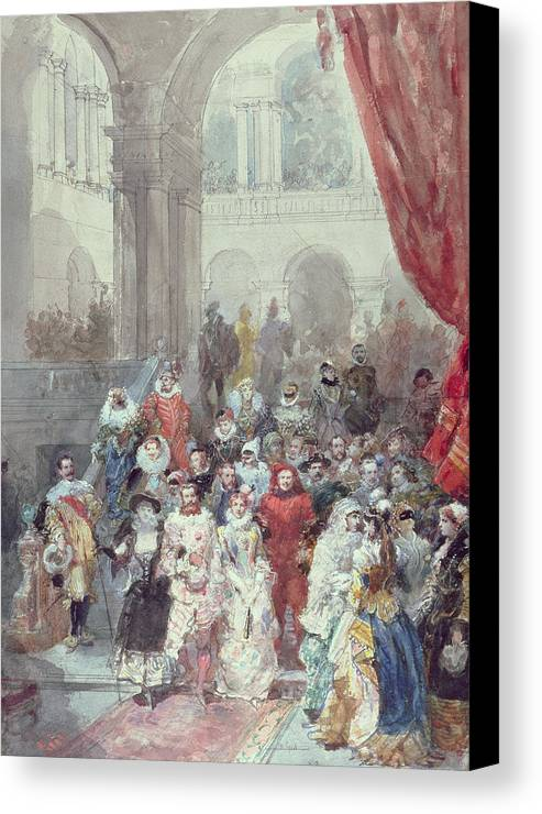 Study For A Costume Ball Given By The Princess Of Sagan Canvas Print featuring the painting Study For A Costume Ball Given By The Princess Of Sagan by Eugene-Louis Lami