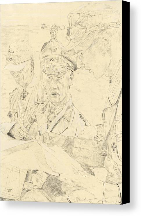 Rommel Canvas Print featuring the drawing Sun Bleached Rommel by Dennis Larson