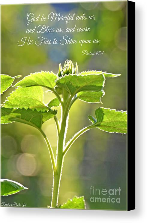 Wall Art Canvas Print featuring the photograph Sun Drenched Sunflower With Bible Verse by Debbie Portwood