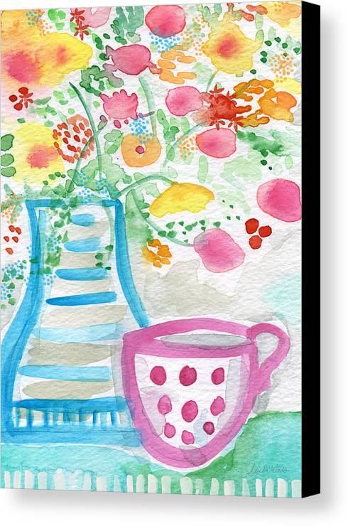 Flowers Canvas Print featuring the painting Tea And Fresh Flowers- Whimsical Floral Painting by Linda Woods