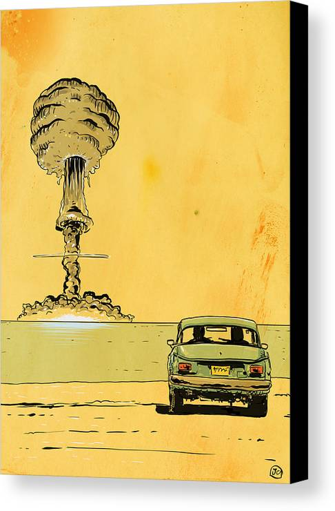 Atomic Bomb Canvas Print featuring the drawing The End by Giuseppe Cristiano