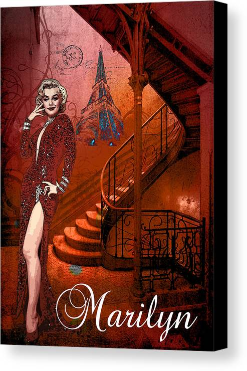 Marilyn Canvas Print featuring the digital art The Red Stair by Greg Sharpe