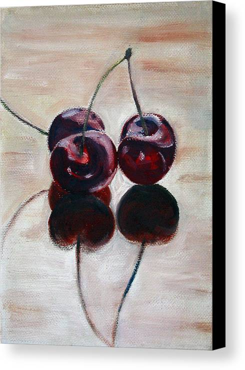 Food Canvas Print featuring the painting Three Cherries by Sarah Lynch