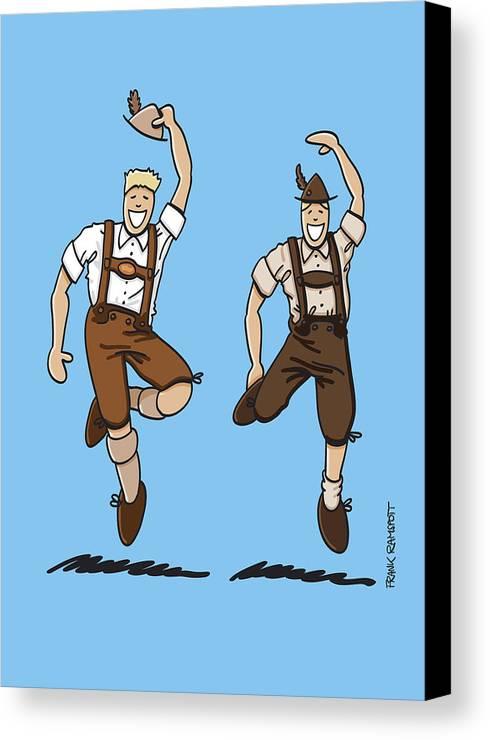 Frank Ramspott Canvas Print featuring the digital art Two Bavarian Lederhosen Men by Frank Ramspott