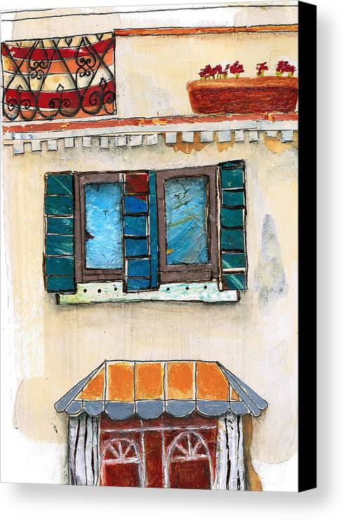 Italy Canvas Print featuring the painting Venice Italy Building by Robin Luther