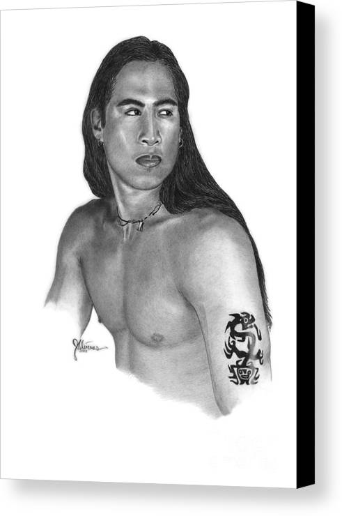Pencil Drawing Print Canvas Print featuring the drawing Warrior by Joe Olivares