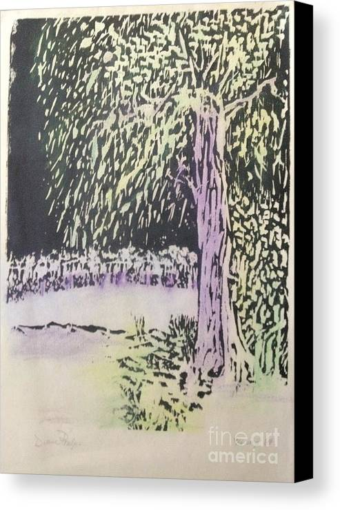 Wood Block Canvas Print featuring the mixed media Willow Print by Diane Phelps