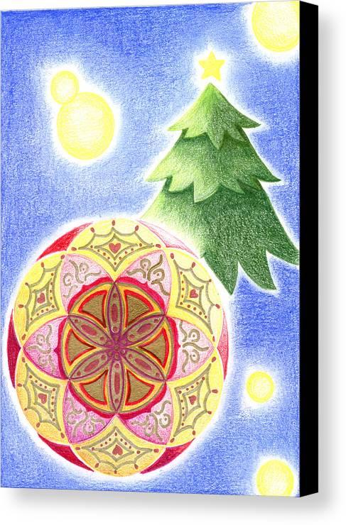 X'mas Ornament Canvas Print featuring the drawing X'mas Ornament by Keiko Katsuta