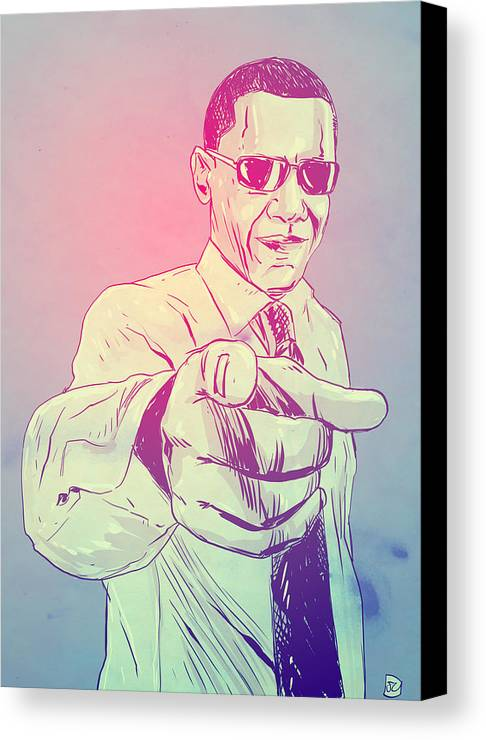 Usa President Canvas Print featuring the drawing Yes You Can by Giuseppe Cristiano