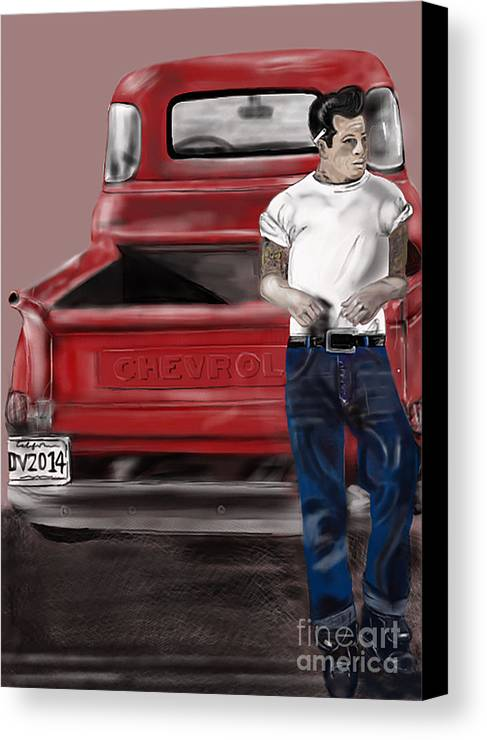 Retro Canvas Print featuring the drawing You Can Sleep While I Drive by Deborah Vicino