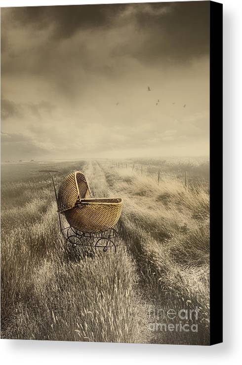 Abandoned Canvas Print featuring the photograph Abandoned Antique Baby Carriage In Field by Sandra Cunningham