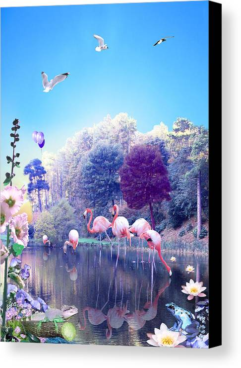 Landscape Canvas Print featuring the digital art pink Flamingoes by Emily Campbell