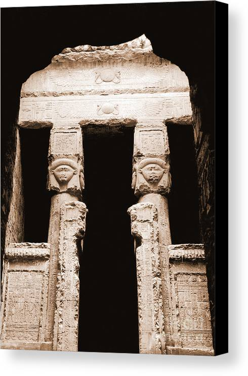Temple Canvas Print featuring the photograph Temple Of Hathor by Photo Researchers, Inc.