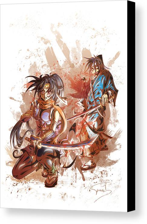 Tuan Canvas Print featuring the drawing Aku Soku Zan 2 by Tuan HollaBack