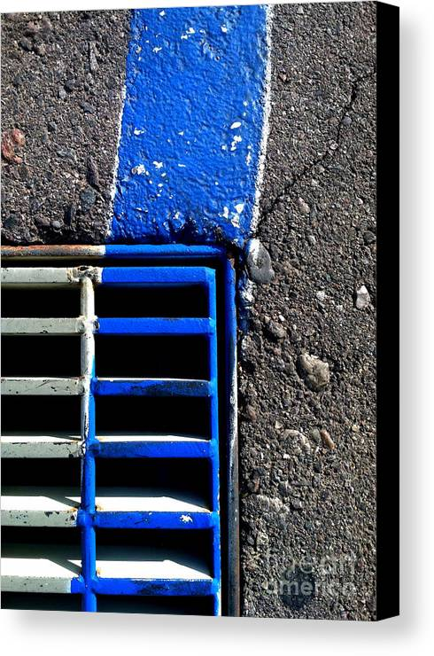 Marlene Burns Canvas Print featuring the photograph Bluer Sewer Four by Marlene Burns