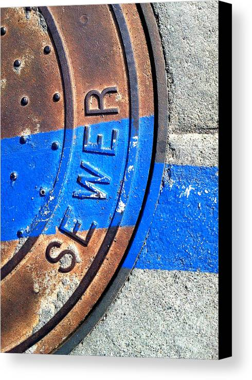 Marlene Burns Canvas Print featuring the photograph Bluer Sewer Three by Marlene Burns