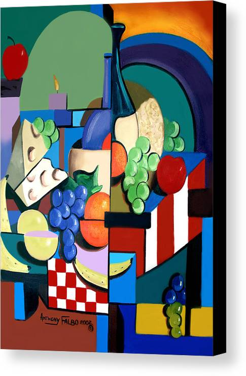 Bottle Of Wine Fruit Of The Vine Framed Prints Canvas Print featuring the painting Bottle Of Wine Fruit Of The Vine by Anthony Falbo