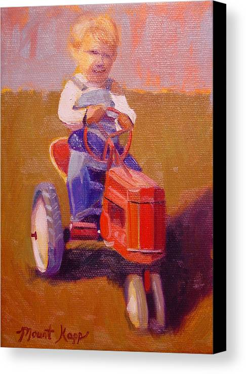 Cintage Canvas Print featuring the painting Boy On Tractor by The Vintage Painter