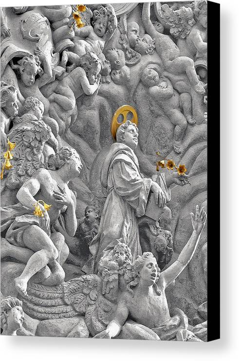 St Canvas Print featuring the photograph Church Of St James The Greater Prague - Stucco Bas-relief by Christine Till