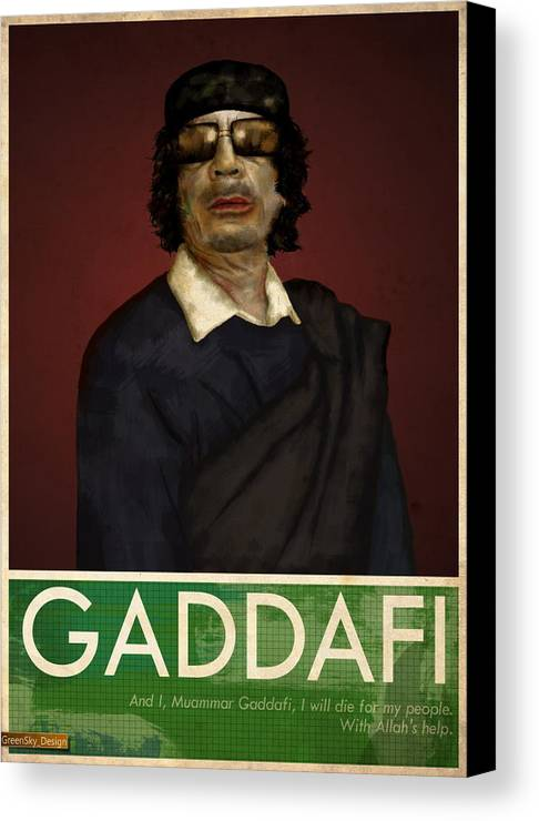 People Canvas Print featuring the painting Colonel Gaddafi by Mark Anderson