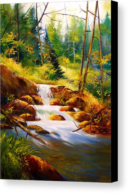 Waterfall Canvas Print featuring the painting Deep Woods Beauty by Robert Carver
