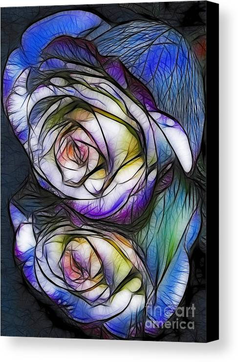 Rose. Reflection Canvas Print featuring the digital art Fractalius Rose Reflection by Marianne Troia