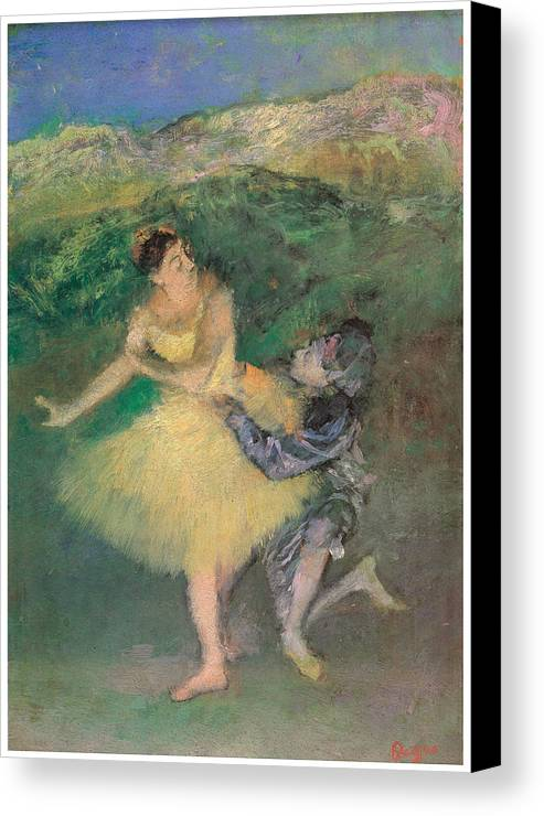 Harlequin And Colombine Canvas Print featuring the painting Harlequin And Colombine by Edgar Degas