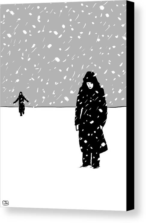 Snow Storm Canvas Print featuring the drawing In The Snow by Giuseppe Cristiano