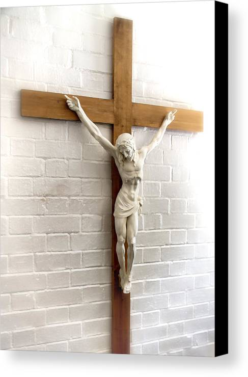 Jesus Canvas Print featuring the photograph Jesus On Cross Painted Effect by Joe Myeress