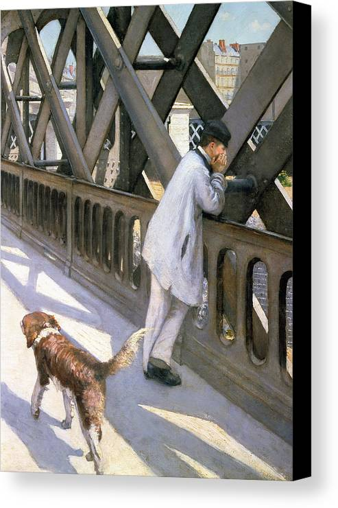 Impressionist; Bridge; Contemplation; Stray; Iron; Collie; Europe; Chien Canvas Print featuring the painting Le Pont De L'europe by Gustave Caillebotte
