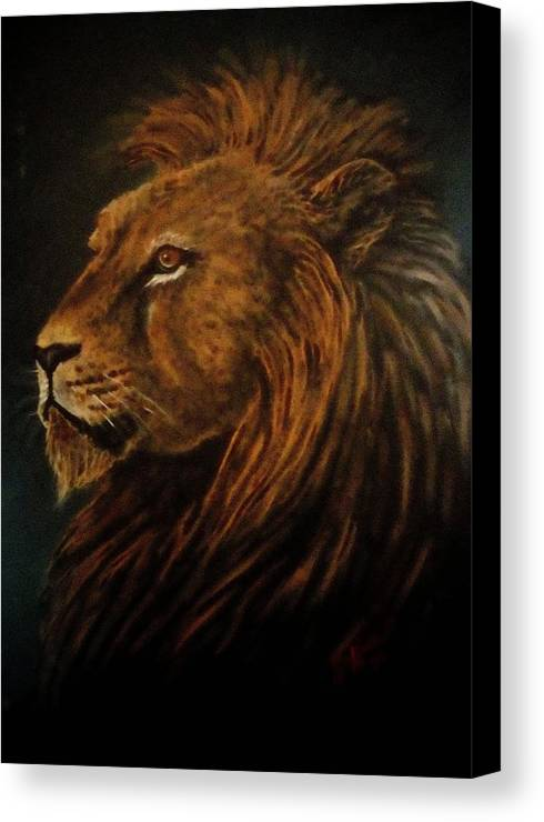 Lion Canvas Print featuring the painting Lion King by Jennifer Jeffris