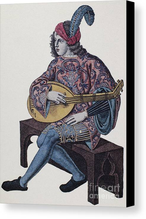 1839 Canvas Print featuring the photograph Lute Player, 1839 by Granger