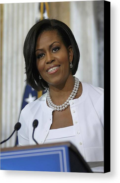 History Canvas Print featuring the photograph Michelle Obama Visited The Treasury by Everett