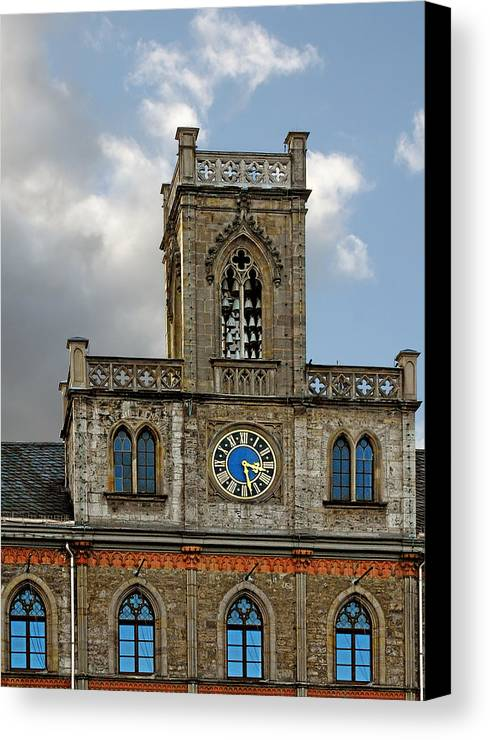 Weimar Canvas Print featuring the photograph Neo-gothic Weimarer City Hall by Christine Till