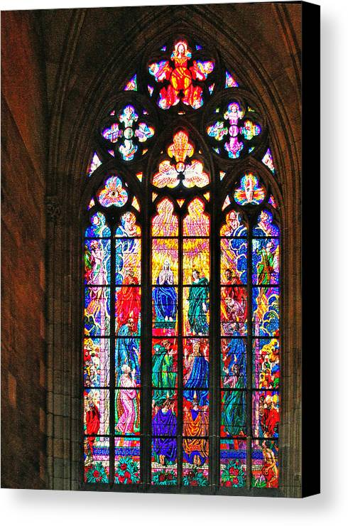Pentecost Canvas Print featuring the photograph Pentecost Window - St. Vitus Cathedral Prague by Christine Till