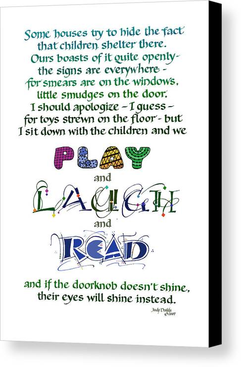 Mother's Day Canvas Print featuring the painting Play Laugh Read by Judy Dodds