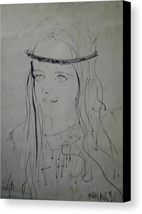Colette Canvas Print featuring the drawing Portrait 1971 Colette by Colette V Hera Guggenheim
