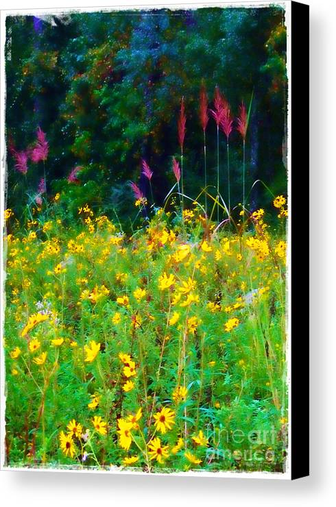 Sunflowers Canvas Print featuring the photograph Sunflowers And Grasses by Judi Bagwell