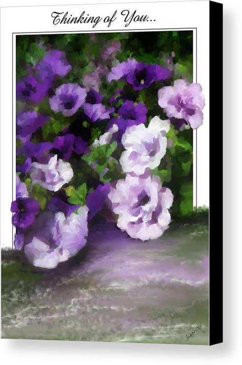 Greeting Card Canvas Print featuring the painting Thinking Of You by Susan Kinney
