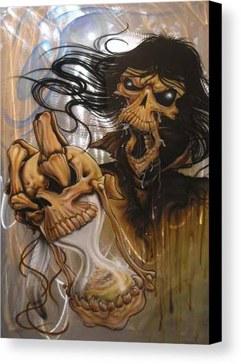 Skull Canvas Print featuring the painting Times Up by Mike Royal