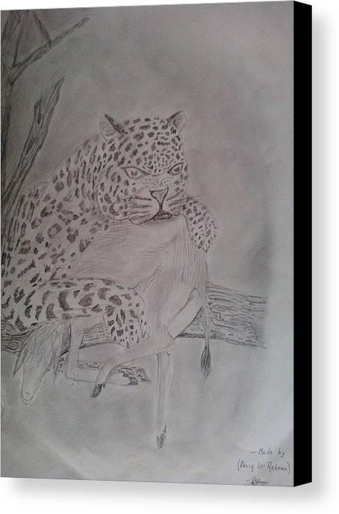 Leopard Canvas Print featuring the drawing Wild Predator by Aniq Urrahman