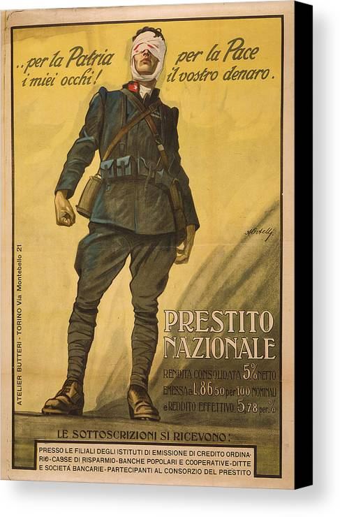 1910s Canvas Print featuring the photograph World War I, Poster Shows A Wounded by Everett