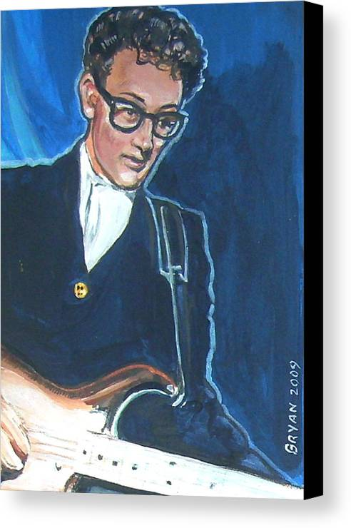 Buddy Holly Canvas Print featuring the painting Buddy Holly by Bryan Bustard