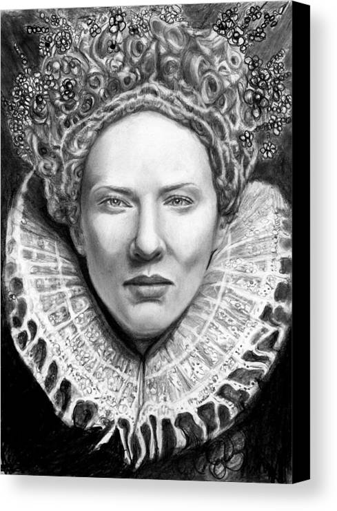 Queen Canvas Print featuring the drawing Cate Blanchett As Queen Eliz. I by Carliss Mora