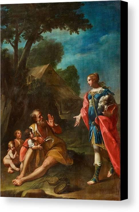 Girolamo Donnini Canvas Print featuring the painting Erminia Among The Shepherds by Girolamo Donnini