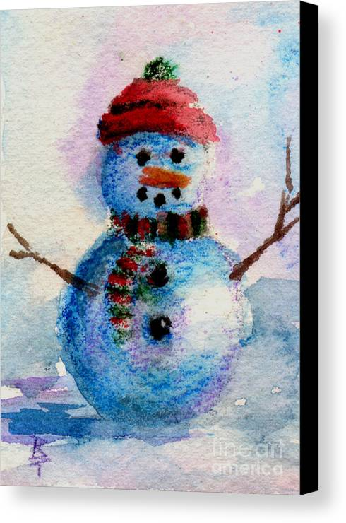 Snowman Canvas Print featuring the painting Frosty Aceo by Brenda Thour