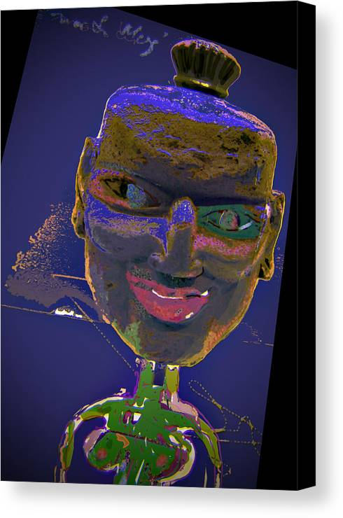 Portrait Canvas Print featuring the mixed media Mask 16 by Noredin Morgan