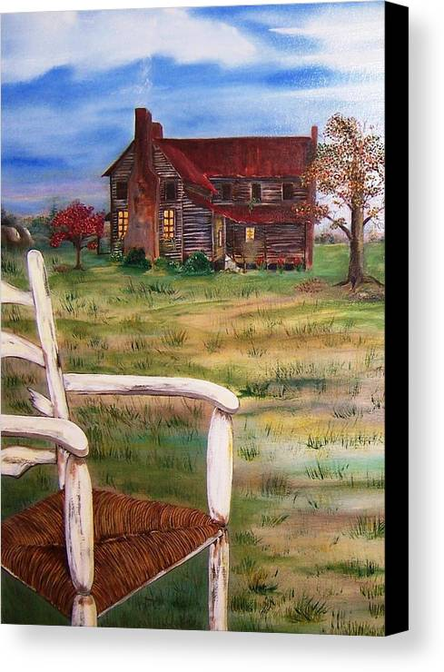 Landscape Canvas Print featuring the painting Old Home by Penny Everhart