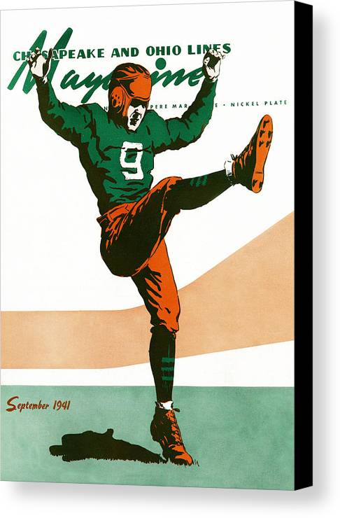 Football Canvas Print featuring the drawing On The Field by The Baltimore and Ohio Railroad